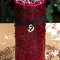 Blood Moon . Moontime Lunar Alchemy Witches Alchemy Candle . Lunar Magick, Goddess Workings . Dark Earthly Moonflower, Bladderwrack and More