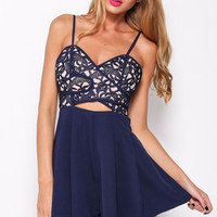 Blue Spaghetti Strap Embroidered Cutout Pleated Romper