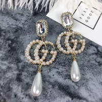 korean trendy  long pearl earrings for women big tassel dangle drop pearl earring jewelry