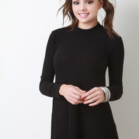 Long Sleeve Ribbed Knit Shift Dress