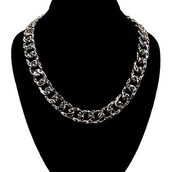 Leopard Rhodium Dramatic Metal Chain Necklace