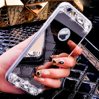 Mirror Luxury Diamond Rhinestone TPU Case for iPhone 6 6s 4.7 plus 5.5 Soft Silicone Thin Protective Back Cover for iphon 6 s