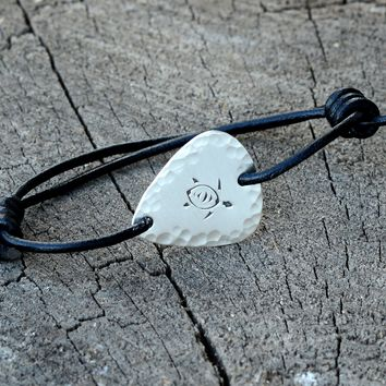 Sea Turtle Sterling Silver Guitar Pick Bracelet with Leather Wrap Cord