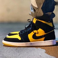Air Jordan 1 OG AJ1 Trending Women Men Casual Canvas Sport Basketball Shoes Sneakers Black&Yellow