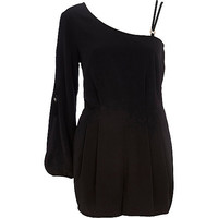 River Island Womens Black asymmetric smart Romper