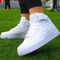 NIKE AF1 Air Force One men and women pure white high-top casual sneakers Optional luminous
