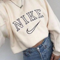 Tagre™ NIKE Fashion Long Sleeve Round Neck Cami Crop Top Sweater Pullover Sweatshirt