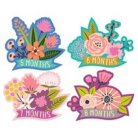 Little Flowers Monthly Milestone Stickers