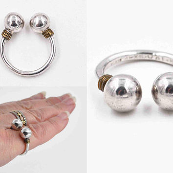 Vintage Taxco Sterling Silver & Brass Double Ball Ring, Mexico, Modernist, Large, Wrapped, Bold, Size 5, Chunky, Super Nice! #c469