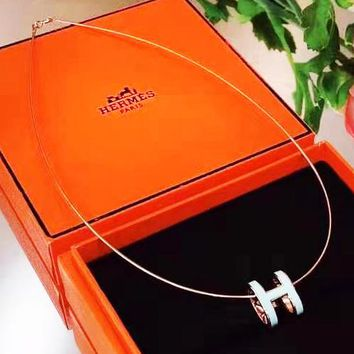 Hermes 925 Silvery Hot Sale Women Stylish H Letter Pendant Necklace Accessories Jewelry