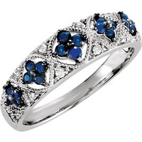 Sterling Silver Genuine Blue Sapphire & .05 CTW Diamond Ring