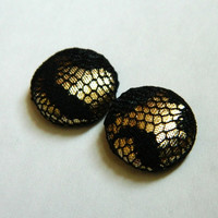 Button Earrings Black Lace- Shiny Gold