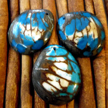 Slice Tagua  Pendant with Marble Pattern turquoise color; tagua slices, craft supplies, jewelry making, tagua beads handmade beads tagua
