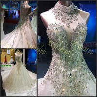 Luxuriously Elegant Cathedral Tail Rhinestones Crystal Wedding Dresses