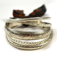 All Around Bangles - Silver Set of 5
