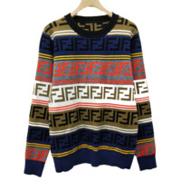 Fendi Autumn And Winter New Fashion More Letter Print Contrast Color Women Long Sleeve Top Sweater