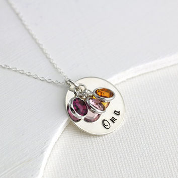 Oma Necklace - Sterling Silver Oma Personalized Jewelry - Swarovski Birthstones - Mothers Day Gift for Oma -Grandmothers Necklace -Mimi Nana