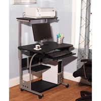 Small Compact Mobile Portable Computer Tower with Shelf Desk with Wheels
