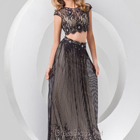 Two Piece High Neck With Cap Sleeves Tony Bowls Prom Dress 115765