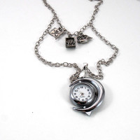 Crescent Moon Pocket Watch Necklace, Pirate Jewelry, Jolly Roger Skull and Crossbones