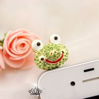 Earphone Jack Accessory 1pcs Of Bling Lively Big Glasses Green Frog / Dust Plug / Ear Jack For For Iphone 4 4S / Samsung / iPad / iPod Touch / Other 3.5mm Ear Jack