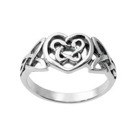 Journee Collection Sterling Silver Celtic Knot Heart Ring
