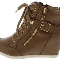 BUBBLE55 TAUPE STUDDED SNEAKER WEDGE BOOT