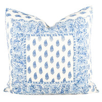 Annette Quilted Euro Sham- Blue