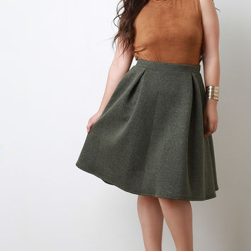 Marl Neoprene Pleated Midi Skirt