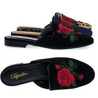 Temper Flat Backless Loafer / Mule, Rose Floral Embroidered Patch, Slipper