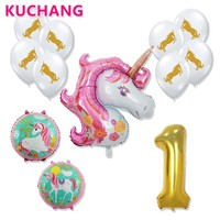 12pcs/lot Large Pink Unicorn 40inch Gold Number 1 2 3 Years Old Foil Helium Balloon Boy Girl 1st 2nd 3rd Birthday Party Decor