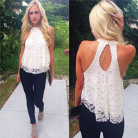 Casual Solid Top Women Halter Top Cropped Blouses Vest Womens Off Shoulder Sexy Tops OL Lady Lace Loose Tanks CF