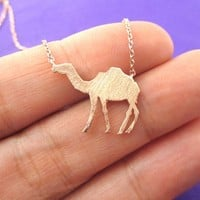Camel Silhouette Shaped Pendant Necklace in Rose Gold   Animal Jewelry