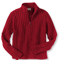 Double L Cotton Sweater, Zip-Front Cable Cardigan: Cardigans   Free Shipping at L.L.Bean