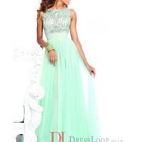 A-Line Bateau Sleeveless Tulle Prom Dress/Evening Dresses With Beaded VTG039