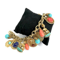 Egyptian Revival Charm Bracelet, Thirteen Charms, Egyptian Coins Princess Sphinx Pharaohs Crowns & Colorful Beads, Vintage Gift for Her