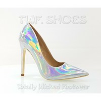 "CR Priscilla Silver Hologram Pointy Toe Pump 4.5""  High Heel Shoes 7-11"
