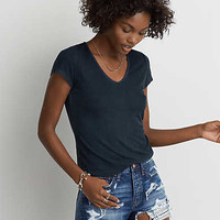 AEO Soft & Sexy Ribbed Voop T-Shirt, True Black