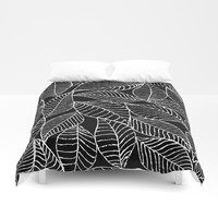 Leaves in white Duvet Cover by juliagrifoldesigns