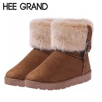 HEE GRAND Women Boots Warm Fur Cotton Winter Shoes High Quality Cozy Women's Soft Ankle Snow Boots Flat Shoes Woman XWX378