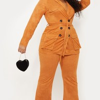 Plus Toffee High Waisted Flare Leg Pants