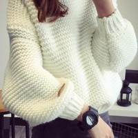 White Round Neck Long Sleeve Oversize Pullover Sweater