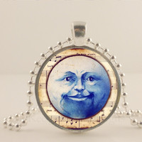 "Blue moon, moon face, Halloween, 1"" glass and metal Pendant necklace Jewelry."
