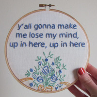 Embroidered Rap Lyrics: Party Up by DMX - In Round Embroidery Hoop