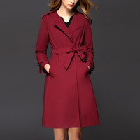 2016 New Korean Slim Brand Casual Trench Coat Women Turn-down Collar Long Double Breasted Windbreaker Outerwear Sashes Plus Size