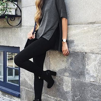 Dark Grey Side-Slit Loose T-Shirt – Lookbook Store