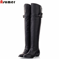Shoes Women New Over The Knee High Boots Women Motorcycle Boots Flats Long Boots Low Heel PU Leather Shoes Big Size 34-43
