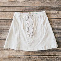 Lace Up White Denim Skirt