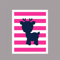 Navy Deer on Hot Pink Stripes Prints Animal Nursery Decor Baby Girl CUSTOMIZE YOUR COLORS 8x10 Prints Nursery Decor Art Baby Room Decor Kids