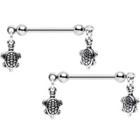 "14 Gauge 5/8"" Handcrafted Turtle Charm Dangle Nipple Ring Set of 2"